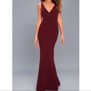 Maroon/wine colored evening gown